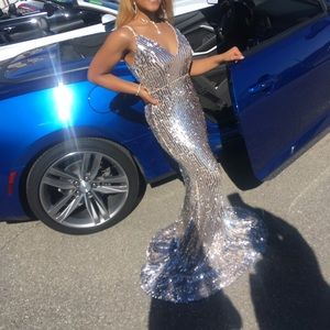 sliver sequin dress